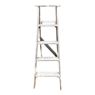 Vintage Rustic Wood Step Ladder For Sale