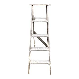 Vintage Rustic Wood Step Ladder For Sale