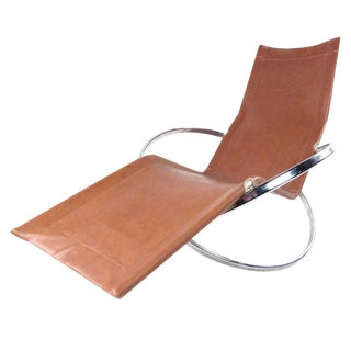 Modernist Chrome and Vinyl Chaise Lounge Chair For Sale