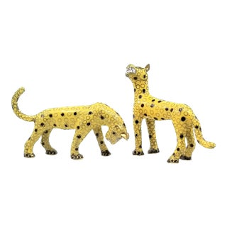 Leopard Cub Figurine Statues Chinese Cloisonne - Animals Cats Palm Beach Boho Chic - a Pair For Sale