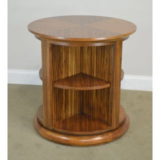 Zebrawood Round Revolving Library Bookcase Preview