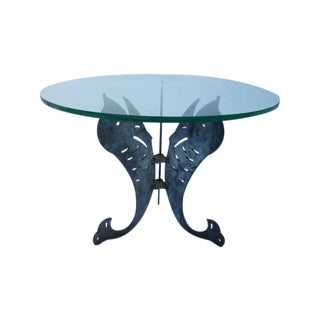 Vintage Perforate Art Metal Dolphins Dining Table For Sale