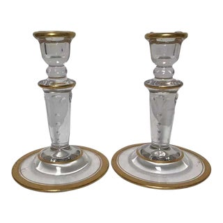 Early 20th Century Gold Trim and Glass Candlesticks - a Pair For Sale