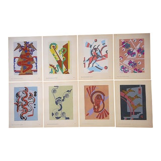 Vintage Serge Gladky Limited Edition Pochoir Prints-Abstracted Animals C.1928 For Sale