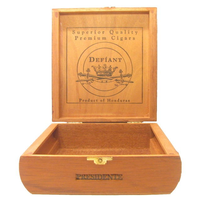 Handsome decorative wooden box formerly used to hold expensive Honduran Presidente cigars. Convex sides, etched crown &...