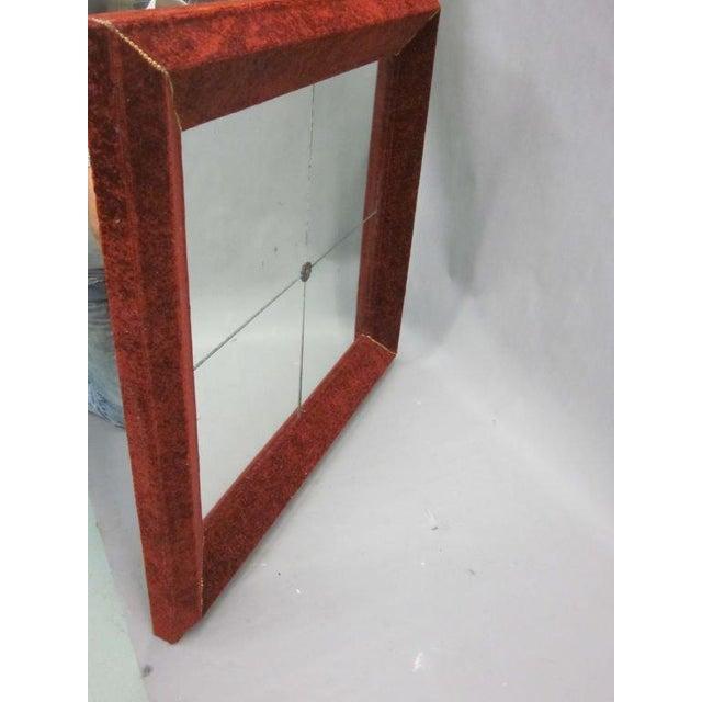 Venetian Antique Velvet Framed Mirror For Sale - Image 4 of 9