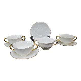 Regency Shelley Bone China White & Gold Soup Cream Cup & Saucers - Set of 4 For Sale