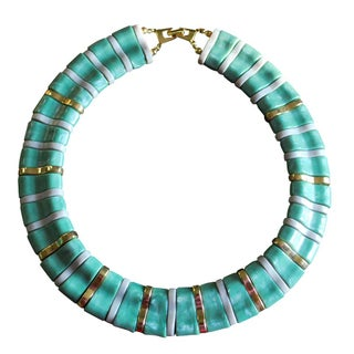 Vintage Faux Jade Statement Collar Necklace