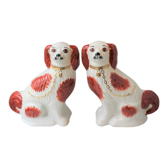 1950s Figurative Staffordshire Ceramic Spaniels Dogs - a Pair For Sale
