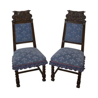 Antique Carved Eagle Barley Twist Side Chairs - A Pair For Sale