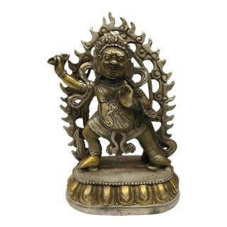 Tibetan Gold Gilt Bronze Mahakala Statue For Sale