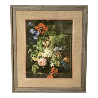 Floral Bouquet Print Matted with Jute in Driftwood Frame For Sale