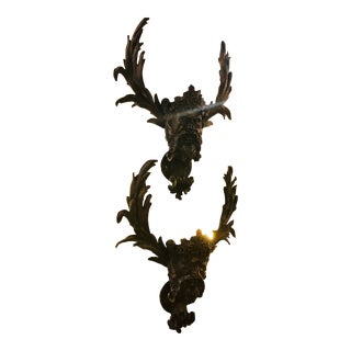19th Century Antique Patinated Bronze Satirical Mask Wall Lights Sconces - A Pair For Sale