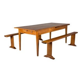 20th Century French Country Cherry Farm Table With Benches - 3 Pieces For Sale