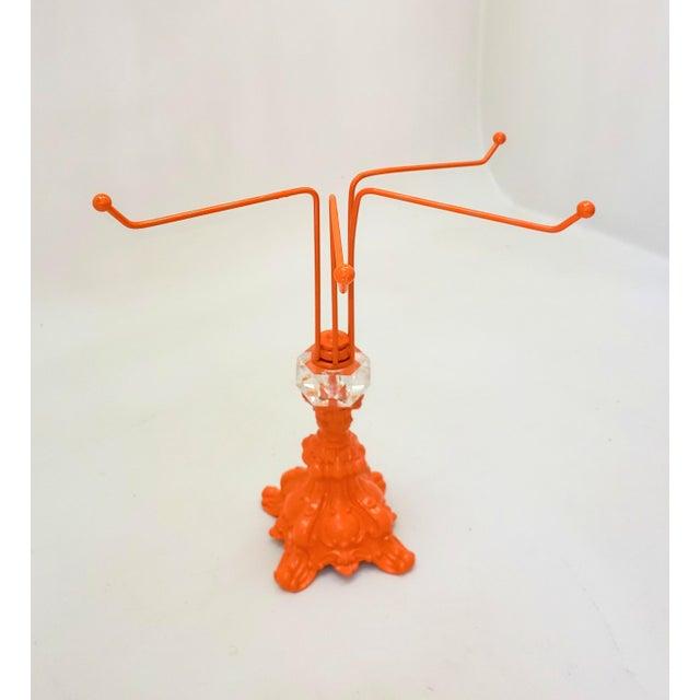 Mid-Century Modern Mid Century Modern Orange & Crystal Necklace Ring Holder For Sale - Image 3 of 6