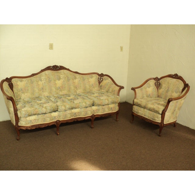 Antique French Provincial Sofa & Chair - A Pair - Image 2 of 11