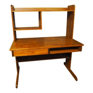 Oak Computer Desk With Hutch