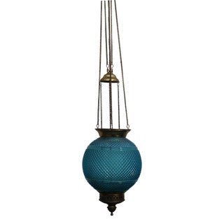 Baccarat Signed French Art Deco 1920's Hanging Electrified Oil Lantern - Hobnail For Sale