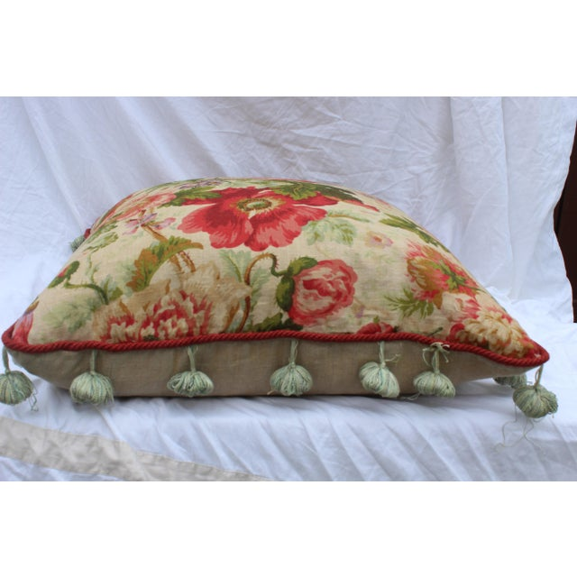 Cottage English Traditional Floral Down Pillow For Sale - Image 3 of 10