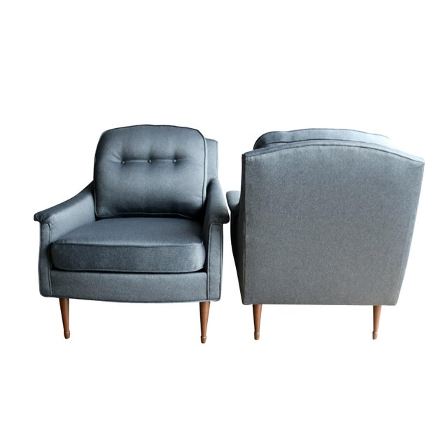 Grey Mid-Century Modern Armchairs - Pair - Image 4 of 6