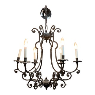 Vintage Antique Style Wrought Iron 6 Arm Chandelier For Sale