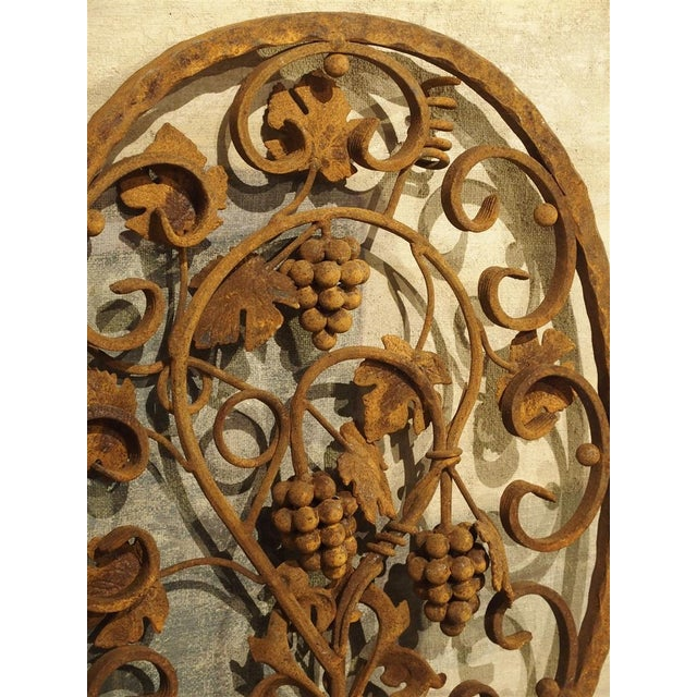 Late 20th Century Decorative Oval Iron Wall Hanging With Scrolling Grape Vines For Sale - Image 5 of 11