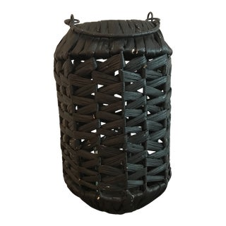 Large Black Seagrass Rattan Jute Hurricane Lantern Candle Holder