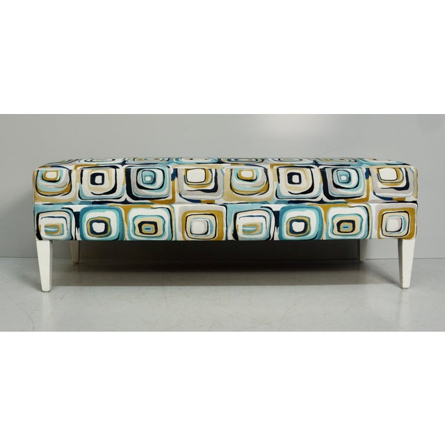 Mid-Century Modern Abstract Blue & Tan Upholstered Bench For Sale - Image 3 of 7