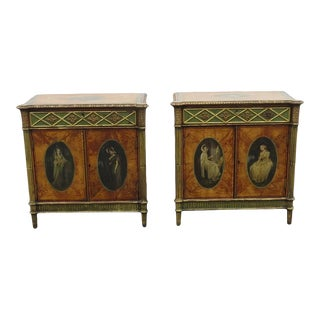 Side Cabinets Bedside in Satinwood Painted and Gilt Adam Revival - a Pair For Sale