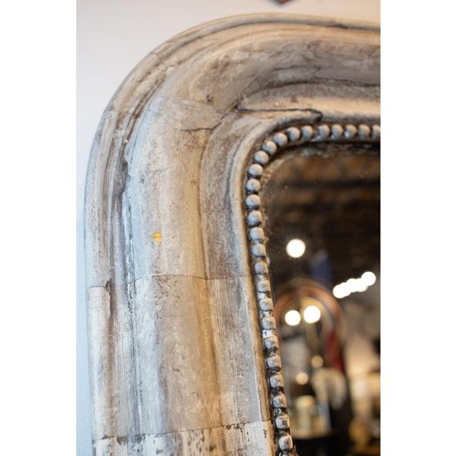 Antique French Louis Philippe Mirror With Hand Painted Greige Stripe Finish For Sale - Image 9 of 13