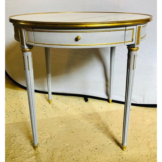 Hollywood Regency Pair Large Hollywood Regency Painted Bronze Mounted Bouiliotte Center End Tables For Sale - Image 3 of 13