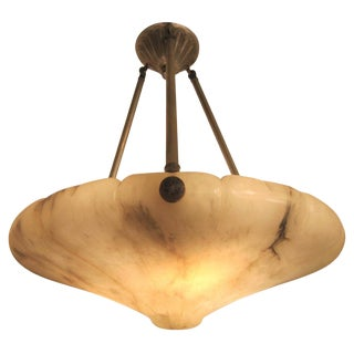 Alabaster Hand Carved Bullnose Pendant Chandelier With Nickeled Mount For Sale