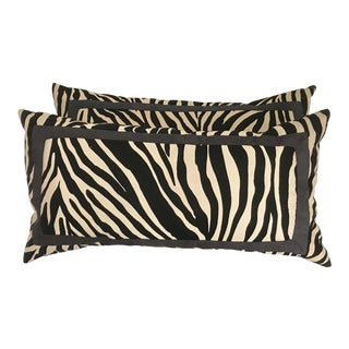 Large Black and Cream Rectangular Zebra / Wildlife Pillows With Down Filling - a Pair For Sale