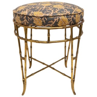 Brass Faux Bamboo Vanity Stool by Maison Baguès For Sale