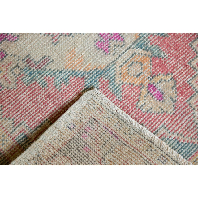 "1960s Vintage Distressed Oushak Rug Runner - 3'5"" X 9'5"" For Sale - Image 5 of 11"