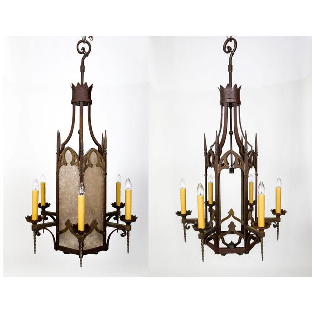 Large Antique Gothic Revival Bronze & Mica Lanterns (2 Available) For Sale - Image 13 of 13