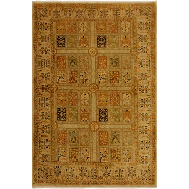 Semi Antique Istanbul Cammy Tan/Gold Turkish Hand-Knotted Rug -4'2 X 6'0 For Sale