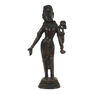 Antique Indian Bronze Sculpture of Hindu Godess Laxmi For Sale