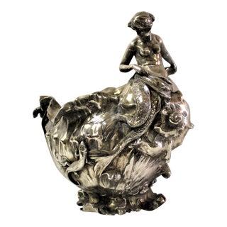 Antique Signed 1897 Art Nouveau Nude Mermaid Silver Vase For Sale