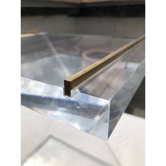 Metal Lucite Z Drinks Table With Brass Detail For Sale - Image 7 of 13