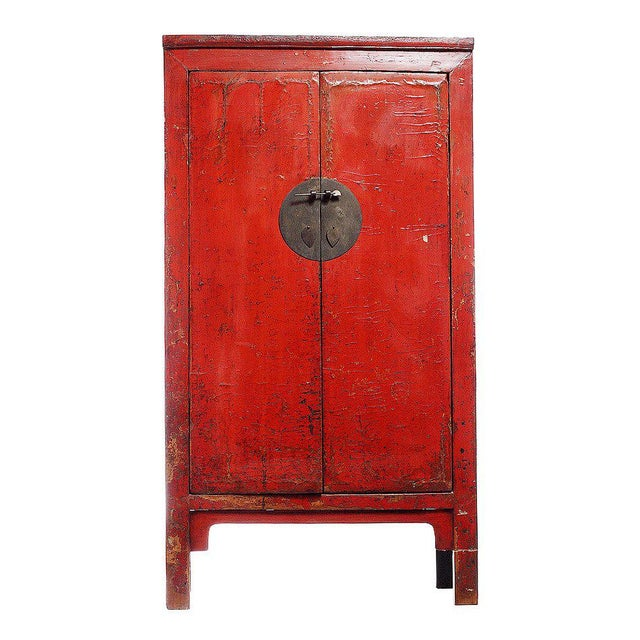 19th Century Chinese Large Red Lacquered Armoire With Iron Hardware For Sale In New York - Image 6 of 7