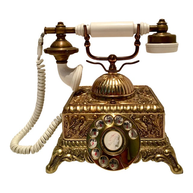 Vintage French Style Brass Telephone For Sale