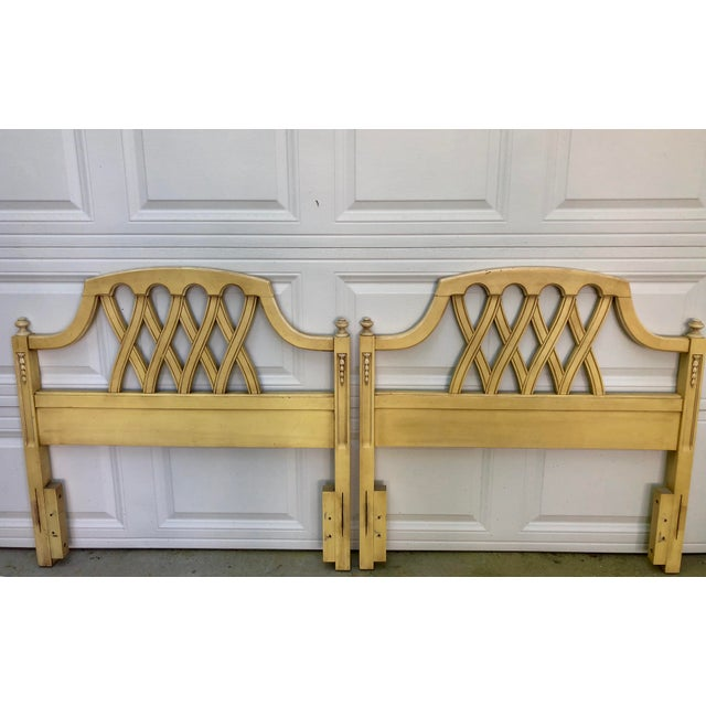 Mid-Century Yellow Lattice Chippendale Twin Headboards- a Pair For Sale - Image 4 of 10