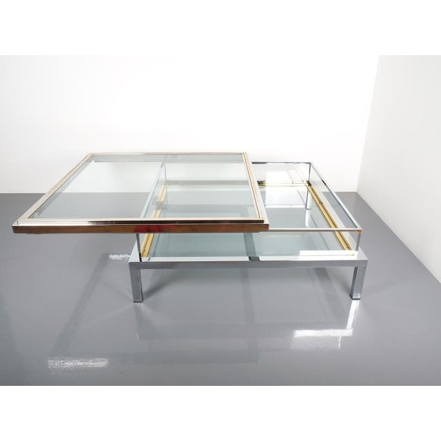 Maison Jansen Refurbished Large Maison Jansen Brass and Chrome Vitrine Coffee Table, 1970 For Sale - Image 4 of 12