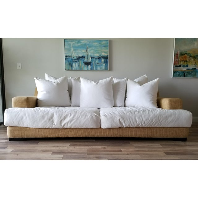 Oversized modern sofa and armchair found at a Palm Beach Estate. Elegant and relaxed with a sand color textured linen...