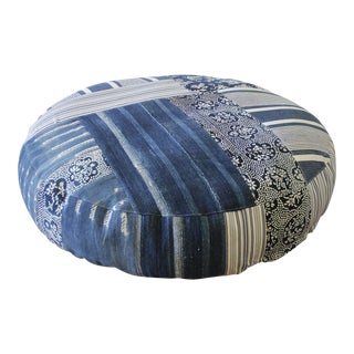 Vintage Batik Mud Cloth Indigo Textile Round Pet Bed