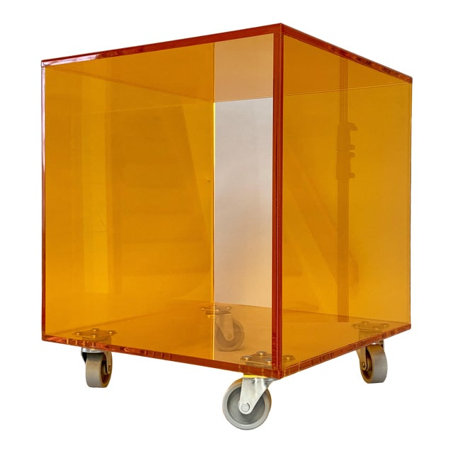 1990s Modern Translucent Orange Lucite Rolling Storage Cube/Side Table on Wheels For Sale