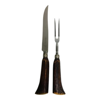 English Bakelite Horn Carving Set - A Pair