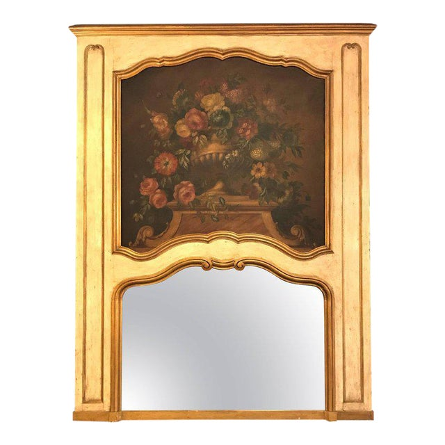 French Antique Painted And Parcel Gilt Trumeau or Over The Mantel Wall Mirror For Sale - Image 12 of 12