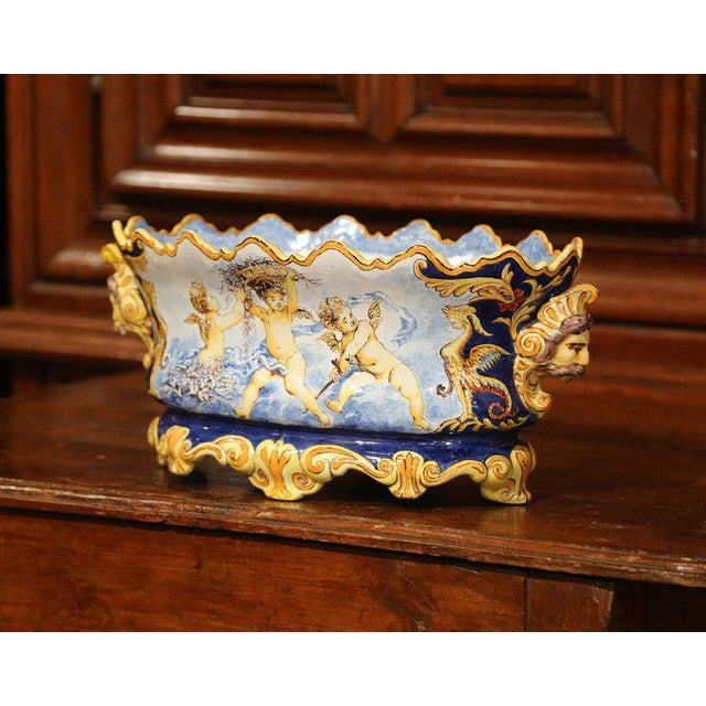 Blue Mid-19th Century Italian Painted Ceramic Oval Planter With Crest and Cherubs For Sale - Image 8 of 12